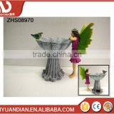 hand painted Fairy polyresin Craft Figurine Angel wings Garden Decoration Solar Powered Light with a bird and flower pot
