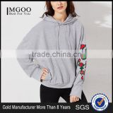 MGOO Custom Design Lightweight Drop Shoulder Heather Grey Embroidered Rose Applique Dolman Sleeve Hoodie