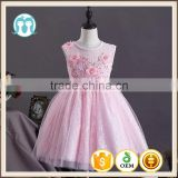 New arrival girls sexy night dress photos baby girls party wear dress Pink cotton puffy girls dress child clothes