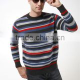 2014 knitted pattern crew neck new striped cashmere sweater for men