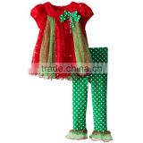 2016 2016 autumn new Christmas tree dots girl suit + pants two-piece sets Christmas children clothing