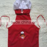 cheap 100% cotton twill cartoon printed chef and apron set for kids