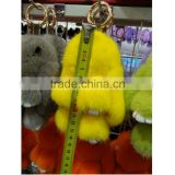 SJ696-02 Real Mink fur keychain Cute Rabbit Doll Key Chain Charm Golf Bag Pendant Car Pendant