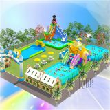 2018 Cheap Inflatable ground water park on land commecial for all ages players