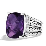 Women Jewelry DY Sterling 925 Silver 16x12mm Amethyst Wheaton Ring