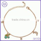 Fashion Jewelry Gold Plated Color Enamel Cherry Banana Fruit Charms Chain Girls Anklet