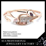 2015 Latest and high quality bangle jewellry with rose gold plating jewellery bangles colored girl's bangle SLS