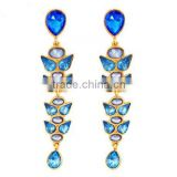 Vintage Drop Earring Statement Trendy Jewelry Elegant Shiny Stone Blue Plant Earrings Factory Fashion Austria Crystal Wholesale