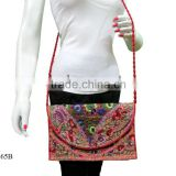 Hippie style messenger handmade embroidered drawstring sling clutch purse tote hobo boho bags