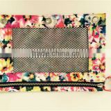 Osini custom flower printed fabrics 3-Ring binder with mesh window cosmetic / pencil / zipper bag for girls & office