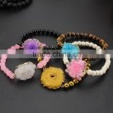BRH1519 Wholesale 6mm stone beaded geode sunflower charm bracelet,drusy bracelet                                                                                                         Supplier's Choice