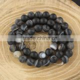 AB0157-2 Natural Matte Black Striped Agate Beads                                                                         Quality Choice