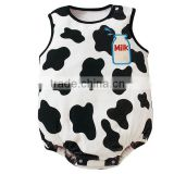 Wholesale newborn babies cow creeper summer sleeveless baby infant playsuit in white,children cotton romper,0-18M