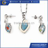 ERJS0150 stainless steel blue murano glass womens artificial bridal jewellery set