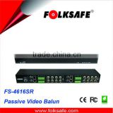 16-Channel Passive Video Balun Hub, Black galvanized housing, Folksafe Model FS-4616SR