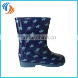New PVC Blue Star Printing Kids rain boots Light outsole