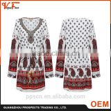 OEM New Fashion latest design lady summer beaded V-neck Long Sleeve plus size women dresses                                                                         Quality Choice