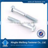 High strength good price zhejiang fastener manufacturers din 931 half thread hex bolts with zinc plated made in China