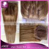 Hot selling straight 3 part silk base lace closure, top quality browm color 4*4 silk closure