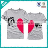 OEM wholesale lovers t-shirt, short sleeve couple t shirt
