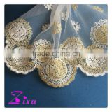 New style professional gold mesh lace fabric for wedding dress / garments