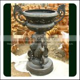 Large Decorative Antique Metal Cast Iron Urns with Birds