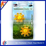 yellow flower shape custom air freshener/auto vent stick car air freshener Refresh Your Car2 packs