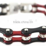 YM043 fashion red & black color ladies bike chain motorcycle bracelets stainless steel ladies bike jewelry