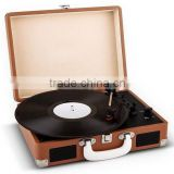 Hot sale Bluetooth phonograph suitcase turntable with classic vintage design record player &High Quality Bluetooth Vinyl Record