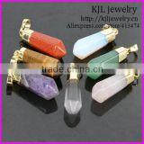 KJL-BD5176 Wholesale Gold Plated Natural Mixed Gems Stones Hexagonal Point Reiki Chakra Necklace Earrings Agate Pendant Beads