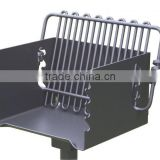 Fully assembled welded steel firebox and grate, park style charcoal grill, barbeque grill