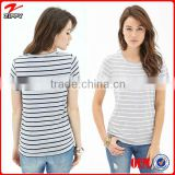 2014 Women tshirts New Design Striped T shirt of Jersey fabric 100% cotton t-shirts christmas discount sale offer