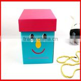 Colorful Big Smile Face Active Red Blue Square Corrugated Storage Gift Box With Long Yellow Ribbon Wholesale