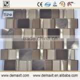 Inside wall decorative round 8mm crystal glass mix marble mosaic tile for bar wall