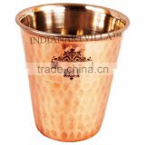 IndianArtVilla Handmade High Quality Steel Copper Glass Cup 300 ML - Drinking Water Home Hotel Restaurant Gift Item Tableware