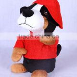 Battery operated singing and dancing stuffed plush toy break dancer Dog