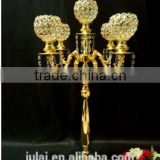 5 arms glass +iron Material and wedding use glass candeabra . gold candle holder for home and event decoration