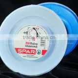 2 colors plate, surface white bottom blue, round plastic plate