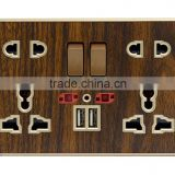 china wholesale factory Double 13A 5 PIN multi-functional switched socket with USB