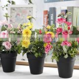 Home wedding decoration artificial silk roses small potted bonsai