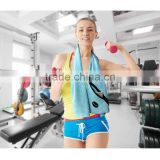 Plastic Bottle Paer Card Single Packed 110*30cm 400gsm Microfiber Woven Waffle Weave Zipper Pockets Gym Sports Golf Towel