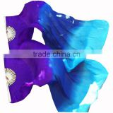 STELISY 2 Colors Gradient Flame Dancing Long Fan Belly Veil For Party Stage Performance