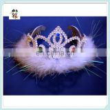 Feather Rhinestone Plastic Princess Fancy Dress Kids Girl Tiaras HPC-0730