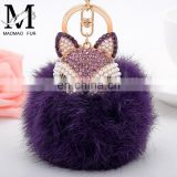 2016 Beautiful and Softly Fashion Genuine Colorful Rabbit Fur Key Chain Custom Fur Pompom