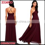 Elegant Strap Lace Bodice Burgundy Maxi Chiffon Lady Dresses Women's Wholesale Long Evening Dress