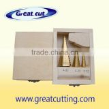 3 pcs step drill bits in wooden box