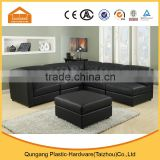 high quality leather material button tufted corner sofa