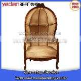 Classic style vintage French egg shaped wooden frame chair with lint fabric linen                                                                         Quality Choice