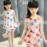 Plus Size Girl Clothes Sets Korean Girl Chiffon Vest T-shirt With Matching Shorts Two Piece Sets Children Clothing Suits