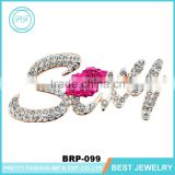 Bohemian brooch pin bulk crystal rhinestone sexy word brooches with rose red lips